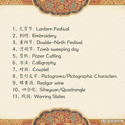 100个中国传统文化名词,你会用英语表达吗