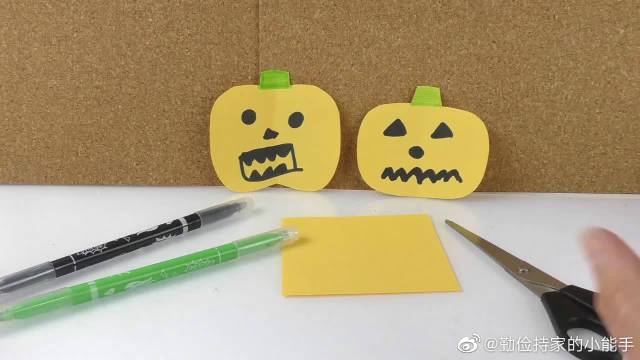 DIY手工制作:秋季丰收南瓜万圣节折纸,装饰用的纸艺怪脸展示
