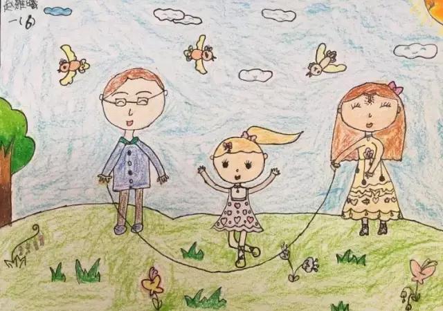 儿童美术绘画作品:幸福一家人,画出家庭相处中温馨时刻!图片