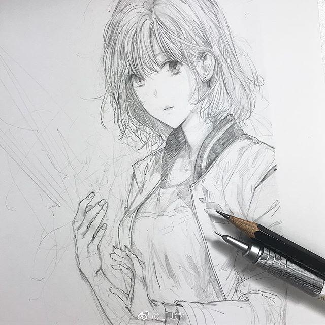 手绘女孩线稿~ ins:artbyshinji