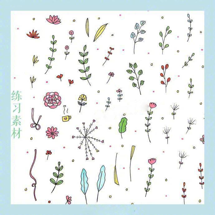 简笔画春天,24种花草植物的画法,点亮你的手账和手抄报.图片