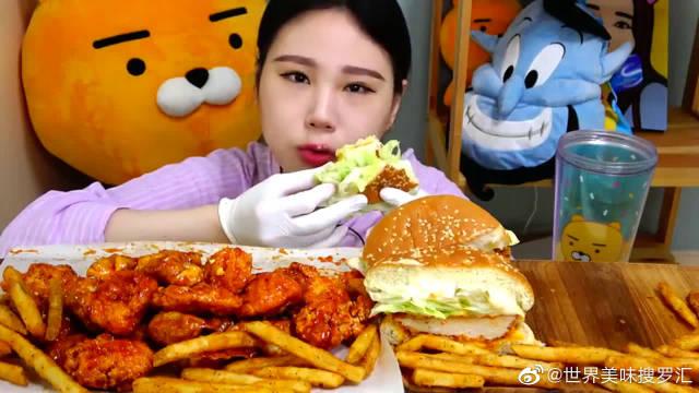 韩国大胃王卡妹挑战PSY汉堡芝士,减肥计划彻底泡汤