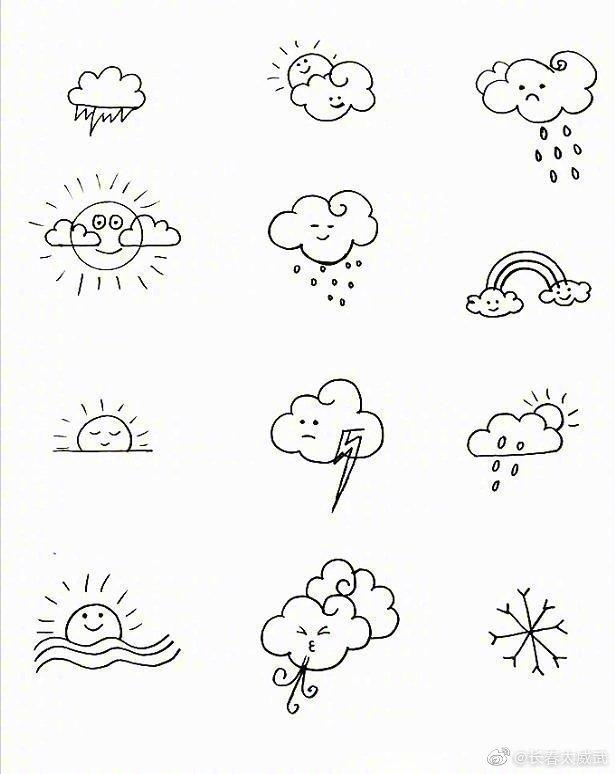 超可爱的天气类简笔画,和小朋友一起画吧