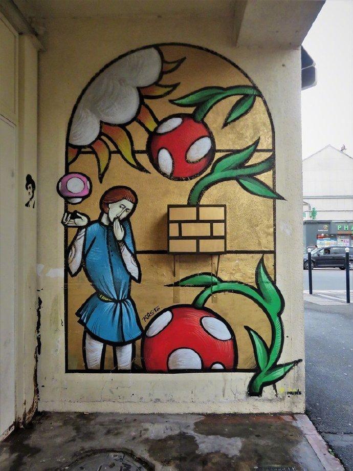 中世纪艺术与超级马里奥世界的结合  街头艺术家 Jerome Rasto