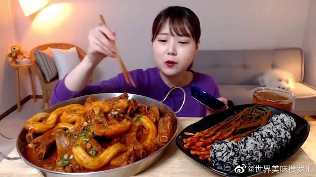 大胃王美食吃播,韩国妹子吃辣炖年糕排骨饭团