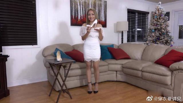 美女博主试穿,白色鱼嘴高跟鞋!气质有没有?显腿长有没有。