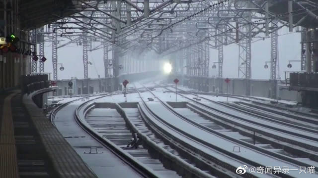 日本新干线E5系,时速300kmh过站,吹起雪花一片!