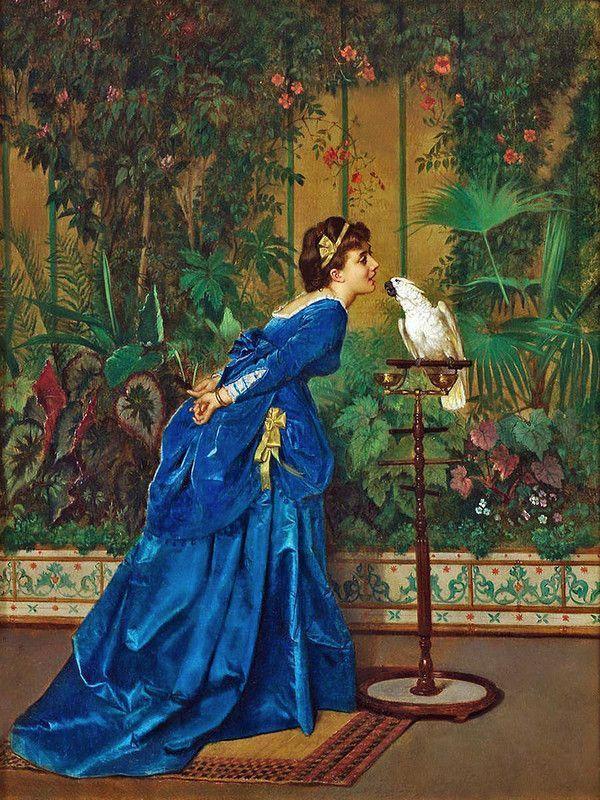古典油画女性的动人举止、精致的服装刻画细腻且情感丰富  | 油画艺术