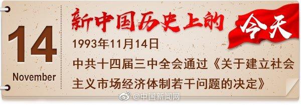 1993年11月14日 中共十四届三中全会通过《关于建立社会主义市场经济