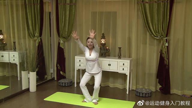 东方瘦身瑜伽花环式,背部伸展,促进骨盆血液的循环