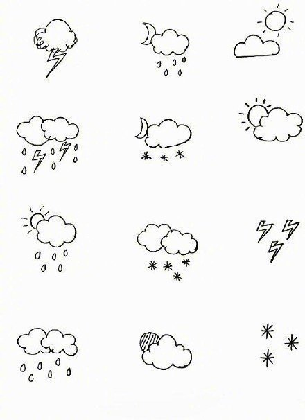 上百个天气小素材简笔画,很可爱很简单,教给小朋友啦