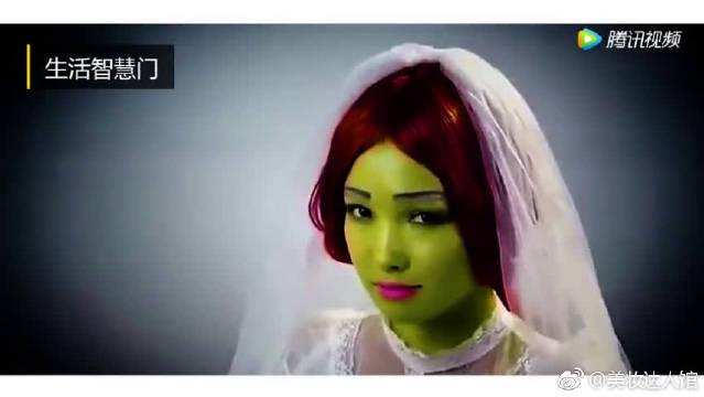 小姐姐模仿《怪物史瑞克》新娘妆,抹上绿色妆容后被惊艳了