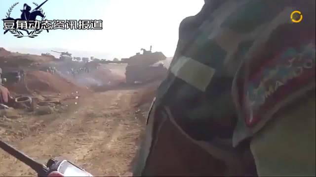 叙军T-90与重机枪性能展现,对峡谷内敌人远程打击