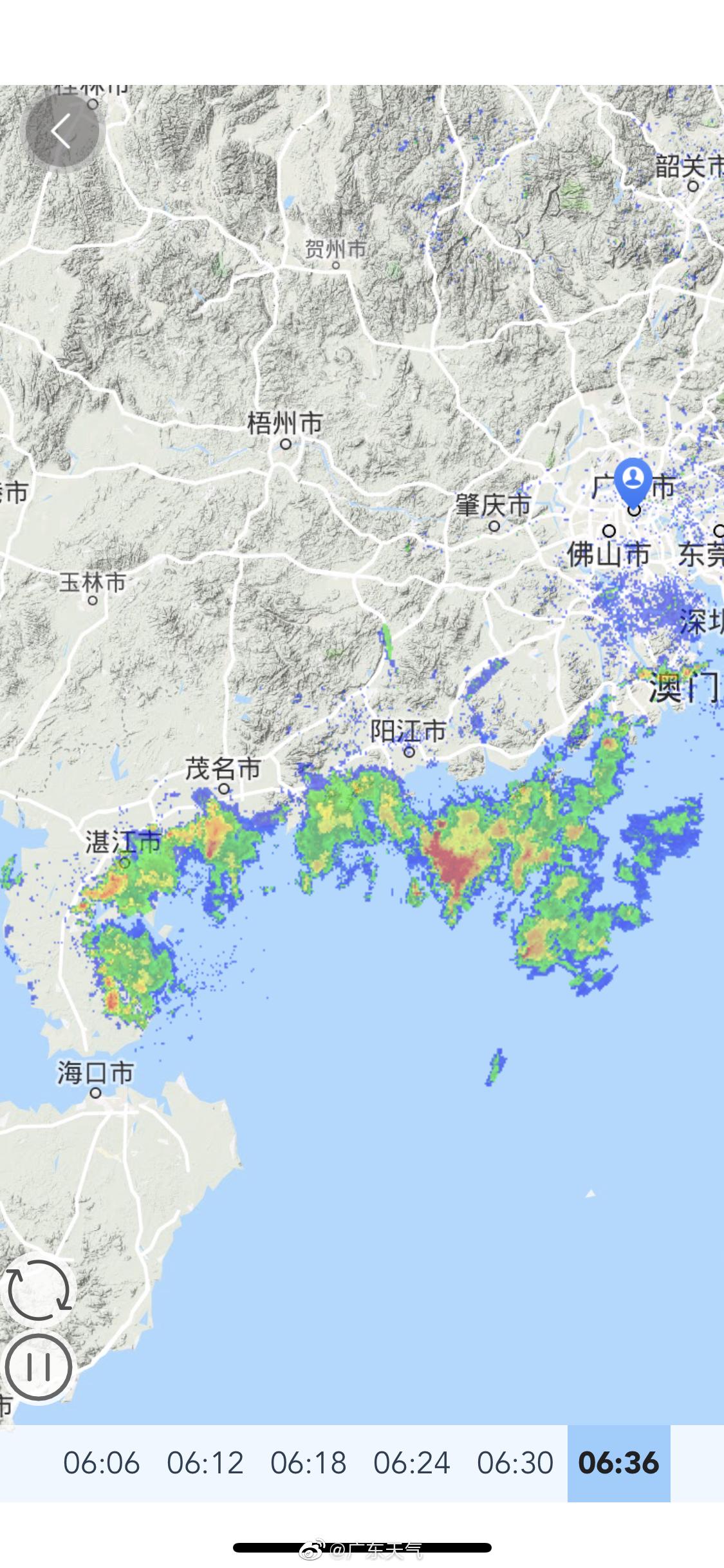 珠江口西侧和粤西降水回波比较活跃,截至6:54分