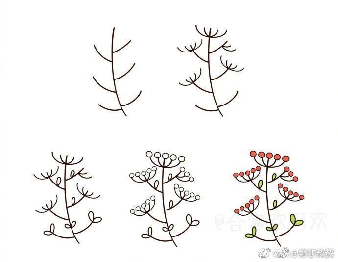 以小树杈为基础,教你画各种植物简笔画.马住,教小朋友