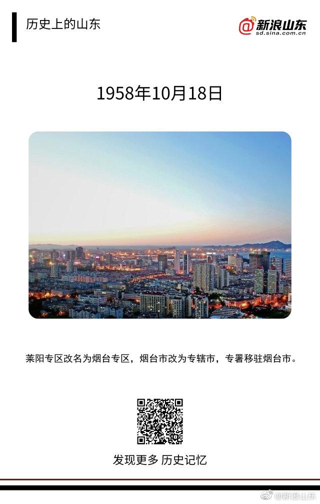 1958年10月18日莱阳专区改名为烟台专区,烟台市改为专辖市