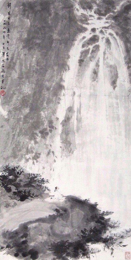 """飞流直下三千尺,疑是银河落九天…"""" · 李白丨绘画:傅抱石"""