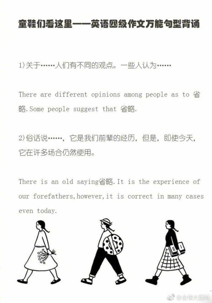 英语四级作文万能模版句型~Mark!!