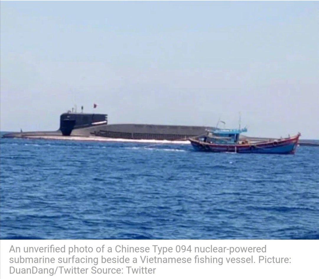 越南渔船在中国南海海域和094型战略核潜艇不期而遇