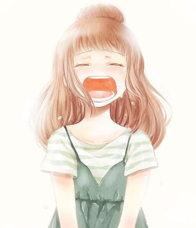 超可爱二次元卡通手绘画:爱哭的女生,一个人的时候要坚强!