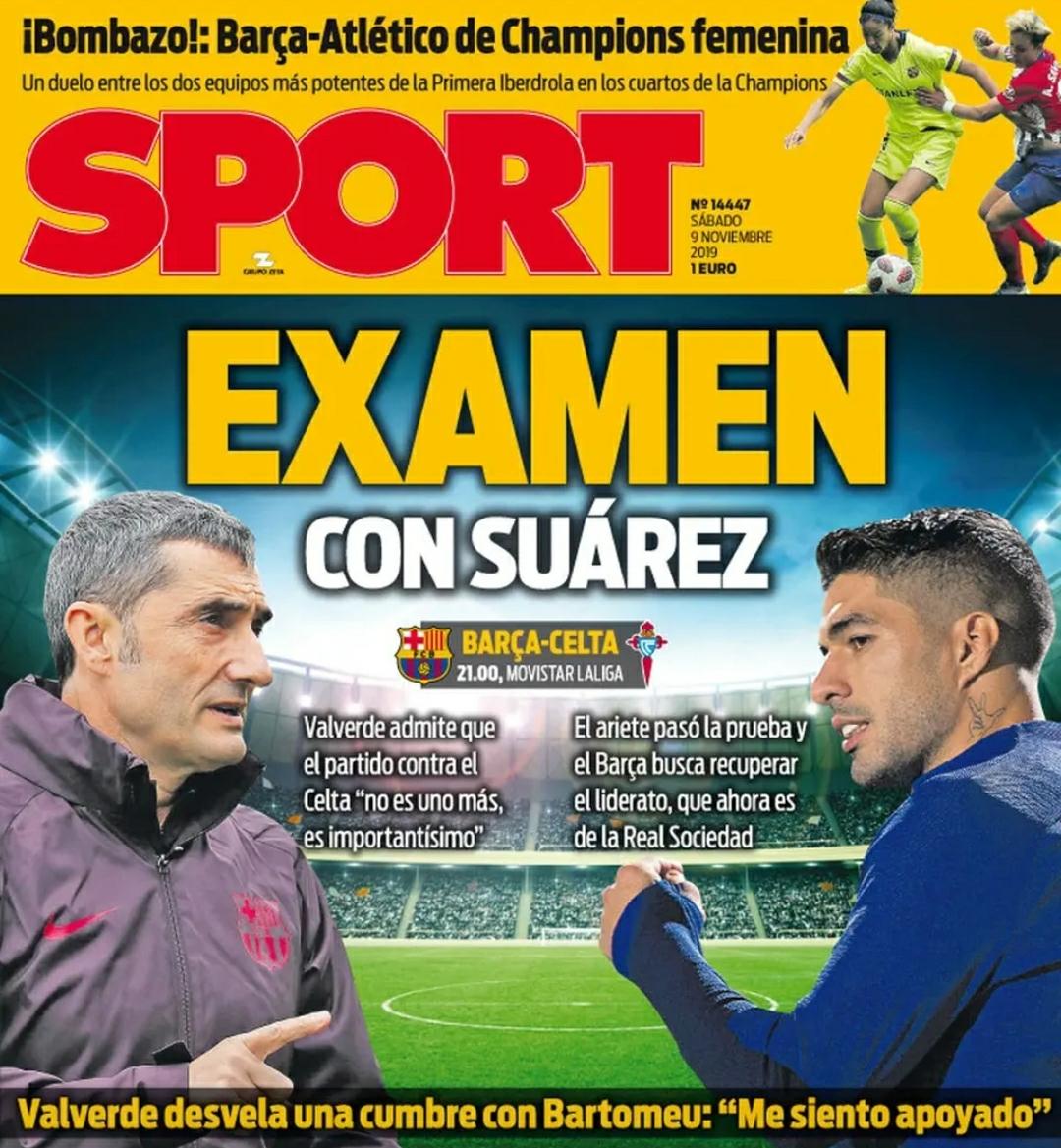 《每日体育报》:苏亚雷斯复出,巴尔韦德和巴萨再度接受检验