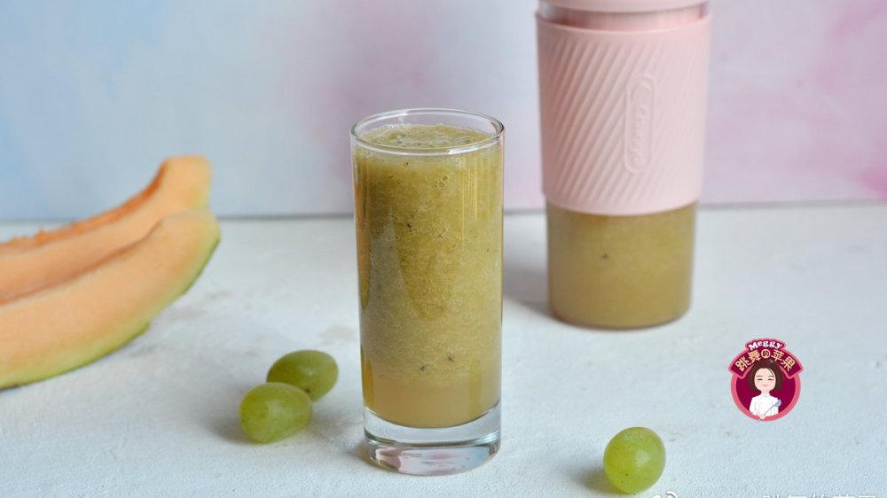 哈密瓜青提汁,秋初多喝些,皮肤白净不干燥