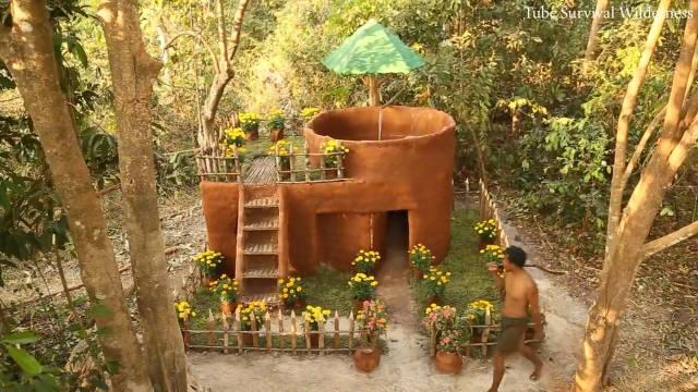 大神在野外森林打造一栋带游泳池的红色别墅,大气漂亮,温馨浪漫!