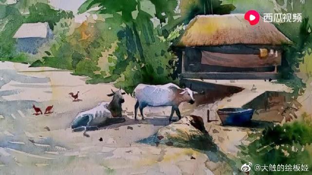 农舍里悠闲的大水牛,爱好绘画的小伙伴们一起来瞧瞧吧