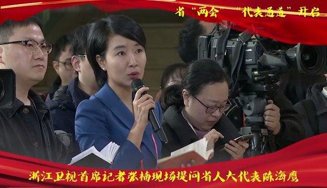 浙江卫视首席记者张楠现场提问省人大代表陈海鹰