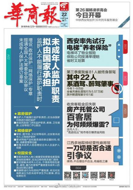 ●陕西省气象台发布霜冻蓝色预警 本周全省最高降10℃;●西安9月份