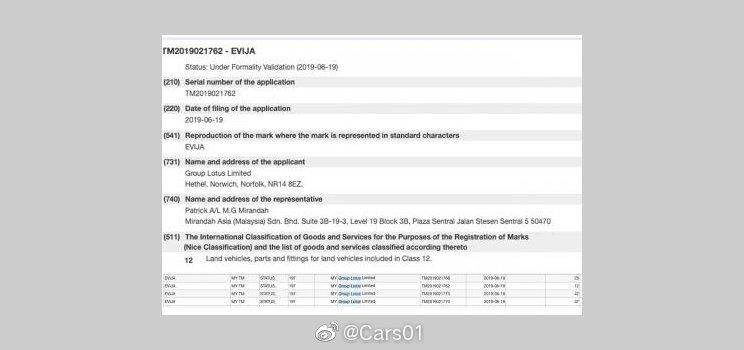 """外媒曝光路特斯在海外注册了名为""""EVIJA""""的商标"""