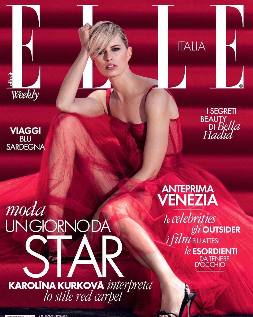 超模Karolina Kurkova 登上《ELLE》意大利版 2019年8月号封面