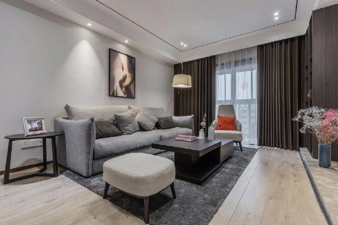 127㎡现代简约风两居室,休闲舒适的灰度空间