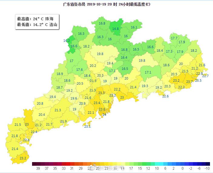 今早最低气温:粤北大部都在20℃以下,最低值连山14.2℃