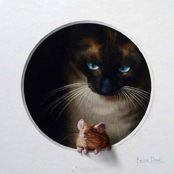 法国画家 Marina Dieul 的猫和老鼠主题手绘动物插画。