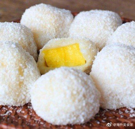 微波炉版芒果糯米糍,做法简便,爱吃的可以学一哈~