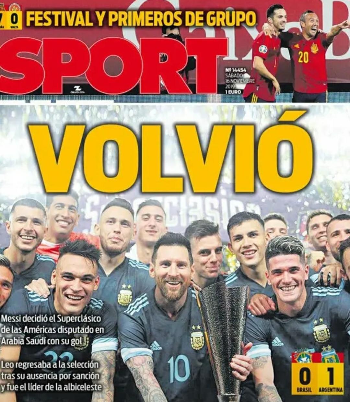 11月16日《每日体育报》梅西回来了,他结束停赛