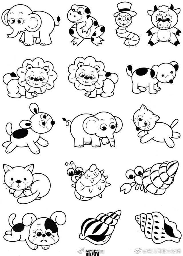 一大波简单可爱的小动物简笔画,mark