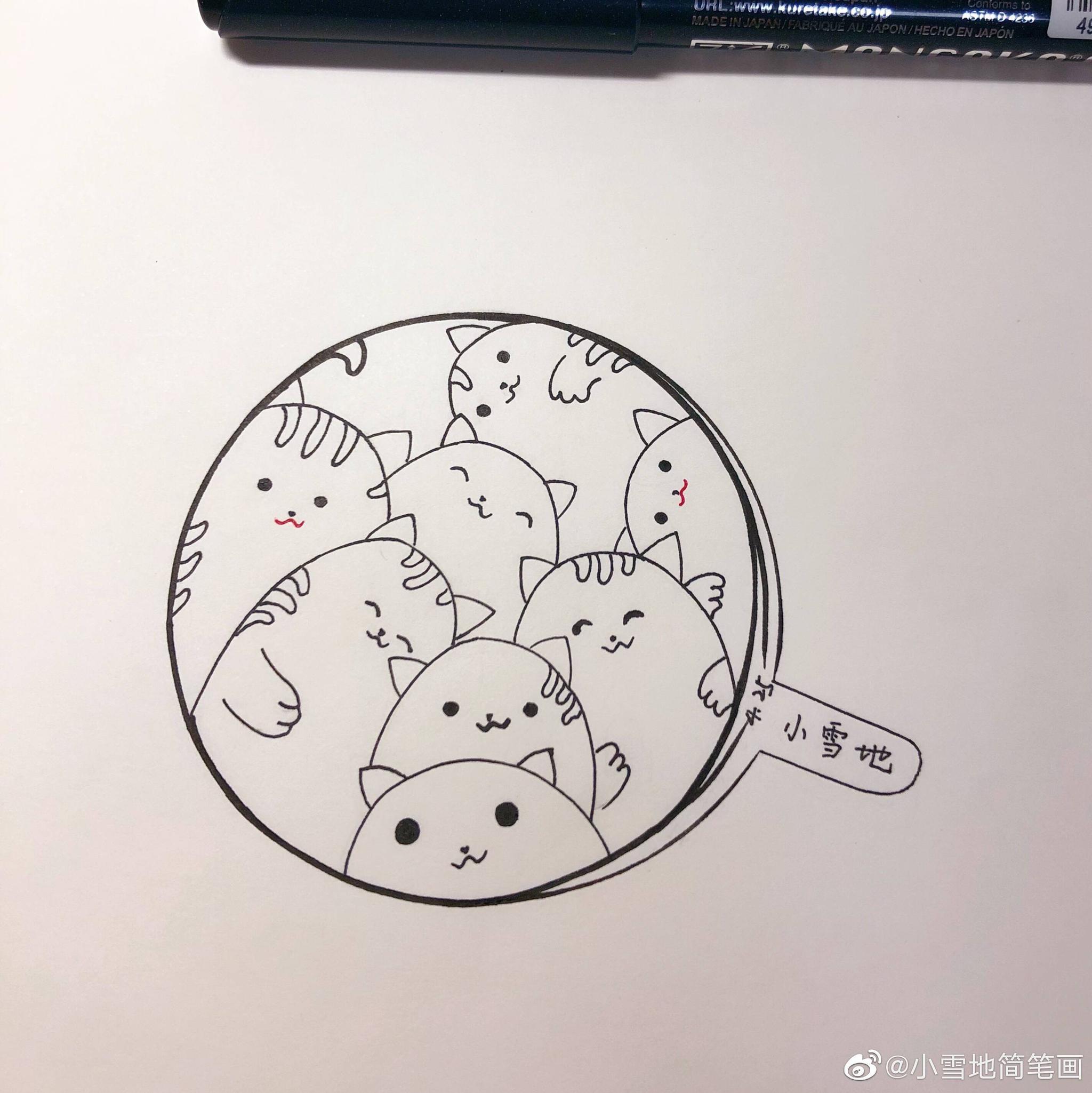 猫猫组团上镜啦@小雪地简笔画