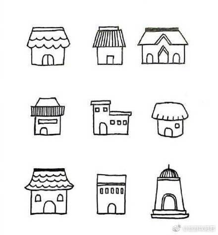 超可爱的小房子简笔画,碉堡了!留着教小朋友 .