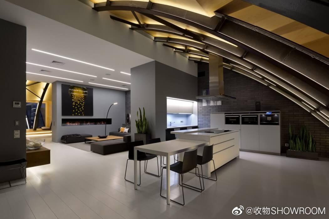 基辅现代公寓原始拱形结构使用钢梁和粘合面板构造出大胆的空间结构