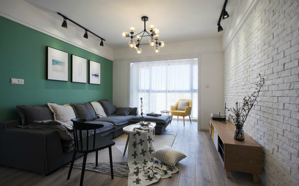 98㎡北欧风格家居设计,喜欢电视墙的白色文化砖,文艺自然的感觉!