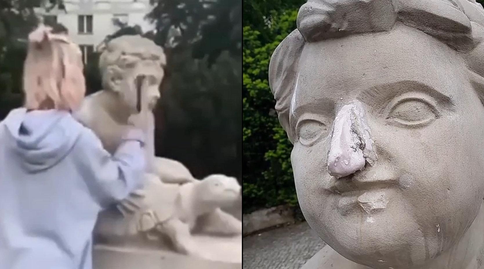 女网红为涨粉敲碎200年雕像鼻子,丢掉工作后急忙忏悔道歉