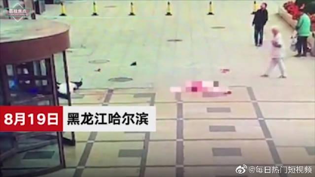 女子医院内坠楼砸中男子,事发瞬间视频曝光