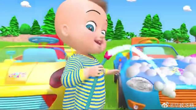 小朋友在草地上开玩具汽车,玩得好开心,还能学习英语儿歌~