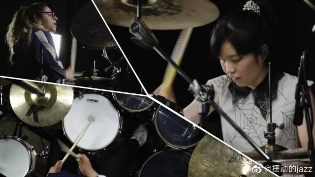 女鼓手间的较量,爵士鼓大师川口千里与萨拉对飚鼓技