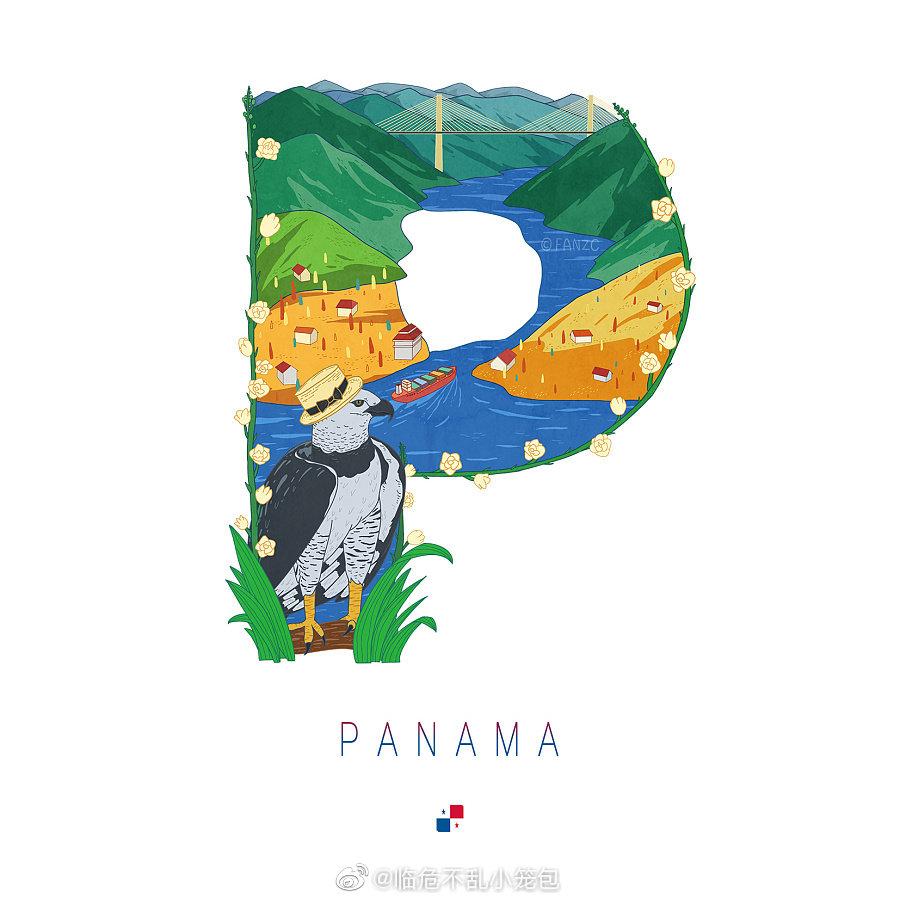 fanzc原创手绘作品:二十六个国家首字母的插画设计