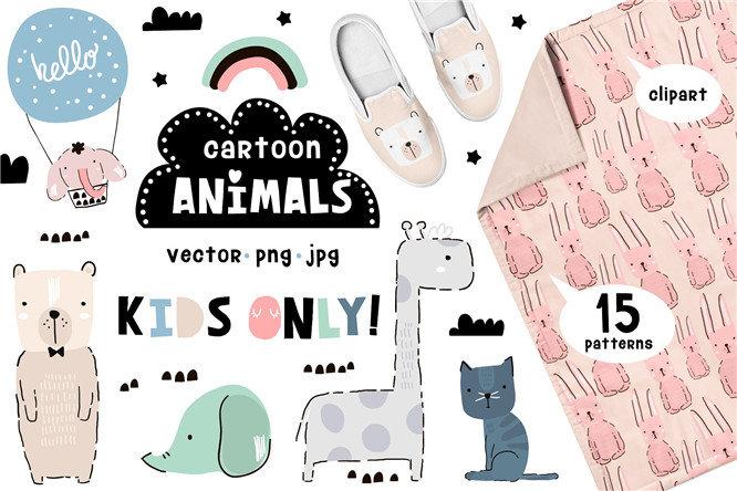 手绘可爱动物大象长颈鹿小狗t恤印刷图案ai png矢量素材 更多详情>>