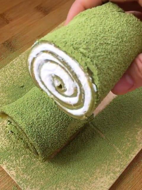 美食:抹茶毛巾卷教程