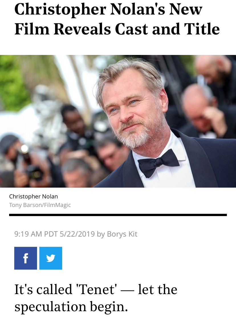 OK,知道了克里斯托弗·诺兰导演新片公布片名为《信条》(Tenet)